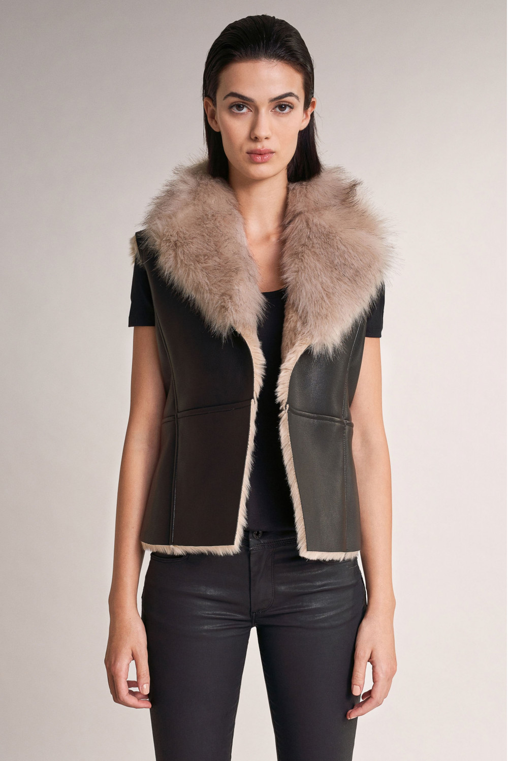 Motard jacket with faux fur collar and inner