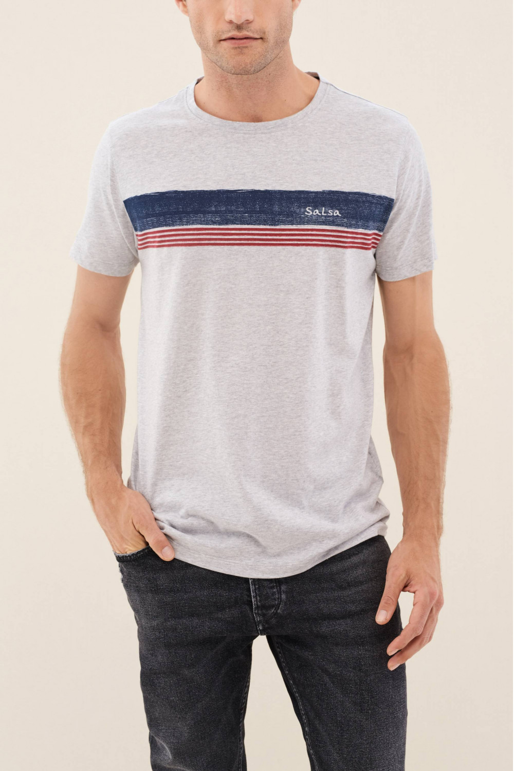 Grey t-shirt with stripe