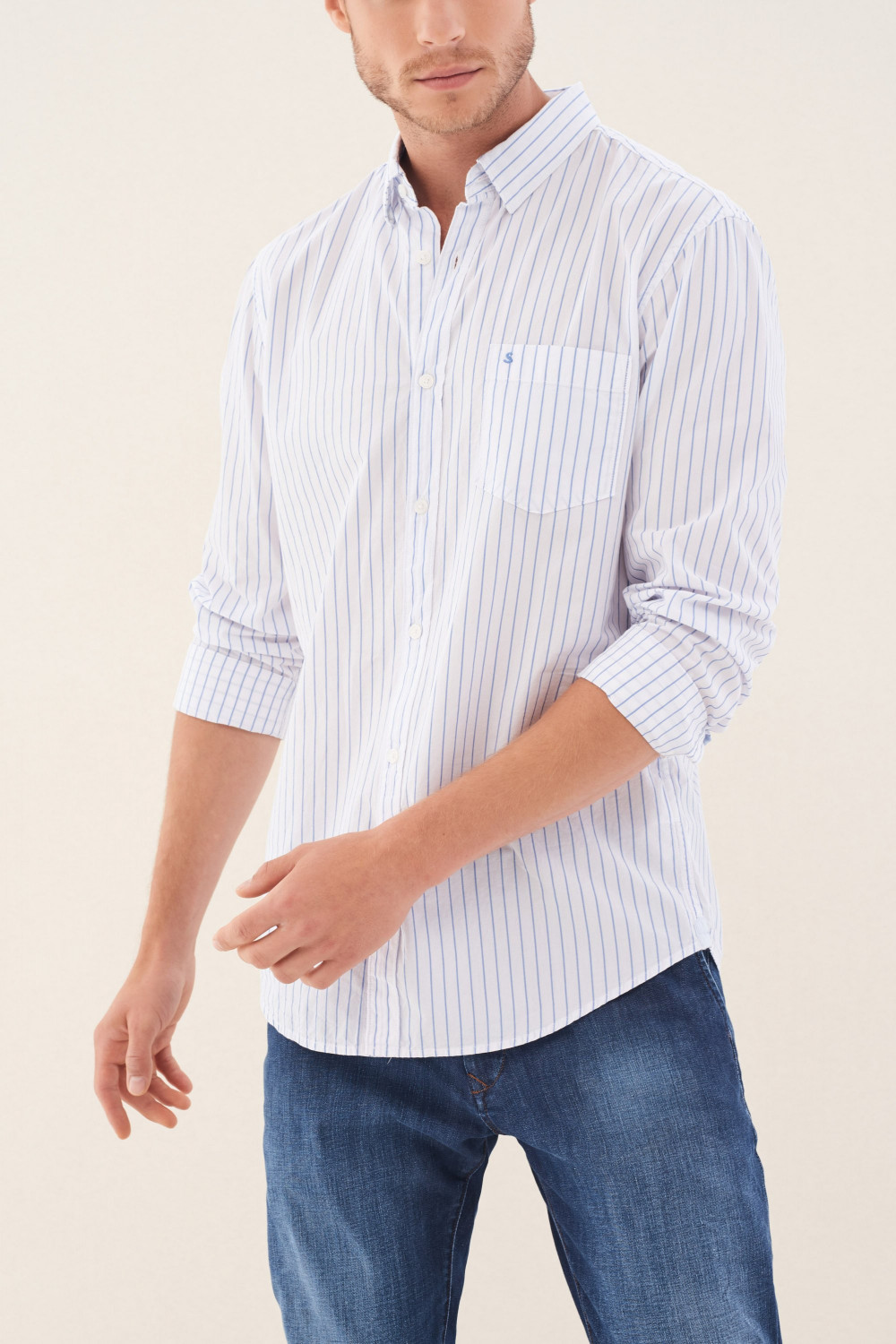 Slim fit striped shirt with print
