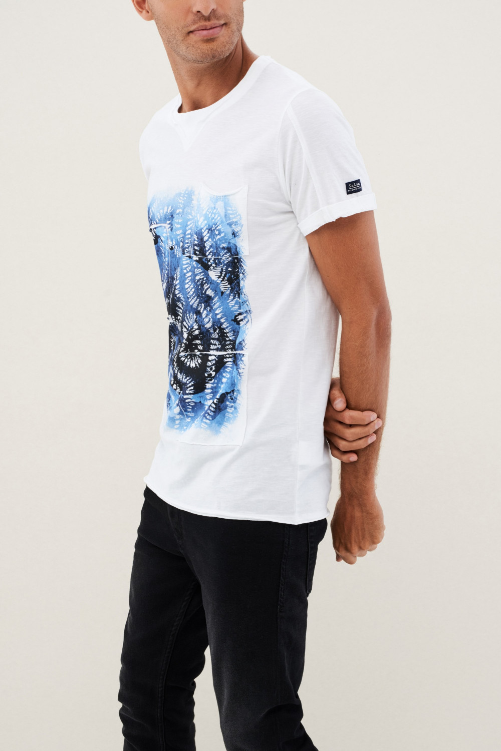 Cotton regular fit T-shirt with texture and effects