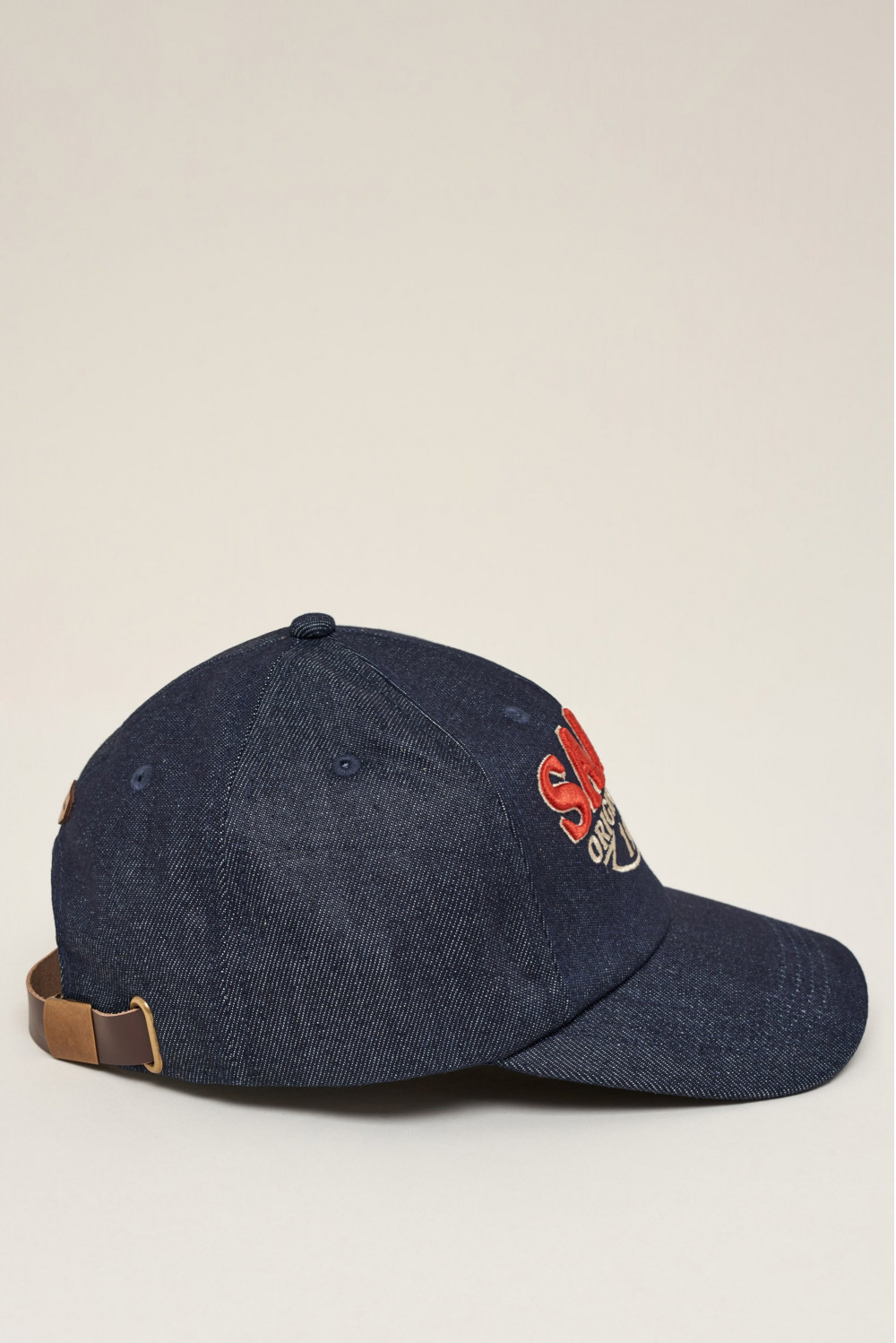 Denim branded cap