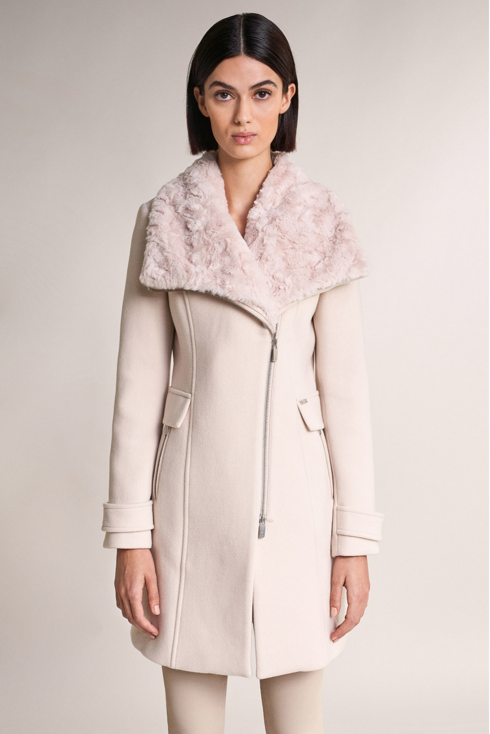 Down coat with faux fur on collar