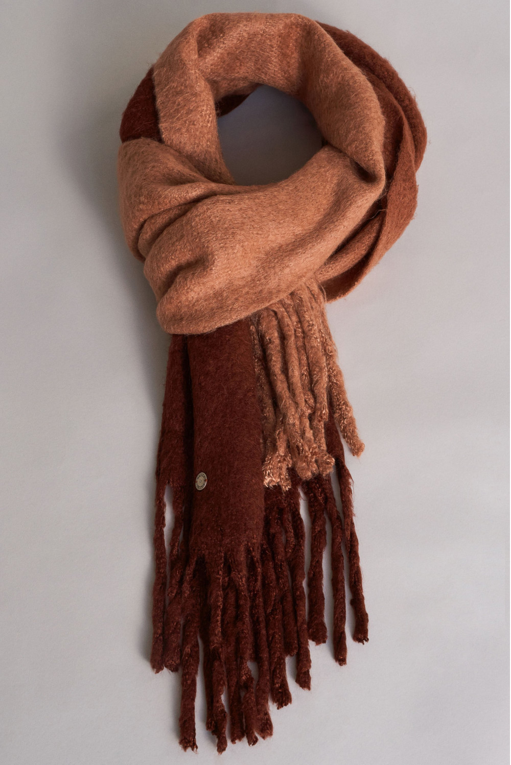 Warm fluffy scarf with gradient effect